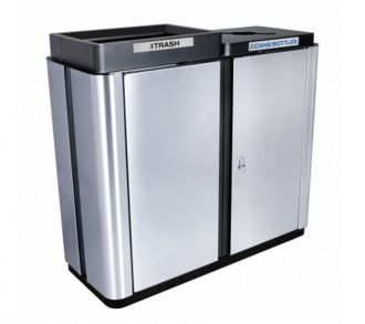 Two Stream Stainless Steel Trash Recycling bin indoor
